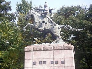 Gim Yu-sin - His statue in Namsan Park, Seoul, South Korea