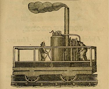 1831 drawing of a locomotive (likely the Tom Thumb) in Baltimore. Steam Engine - an ad in Matchetts Baltimore Director 1831.jpg