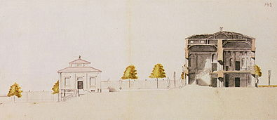 Afhøvlet mod syd og Mälaren (venstre) og langssektion igennem hovedbygningen og havetrappen.