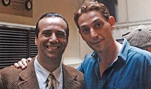 Massimo Ghini - Massimo Ghini (left) on the set of Celluloide, Rome, Italy 1996