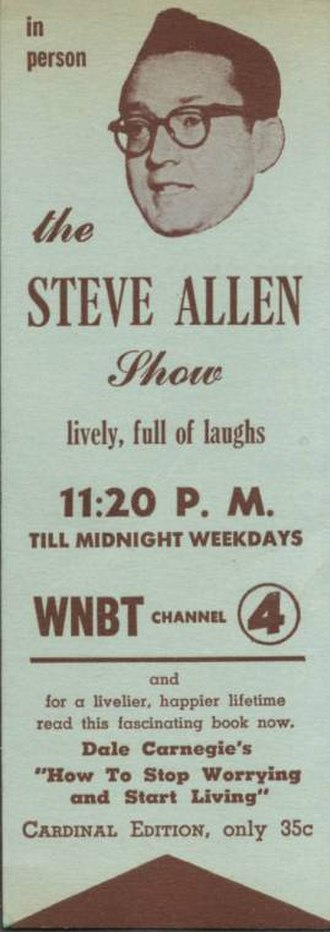 Steve Allen - Bookmark promotion for Allen's late-night show