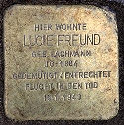 Photo of Lucie Freund brass plaque