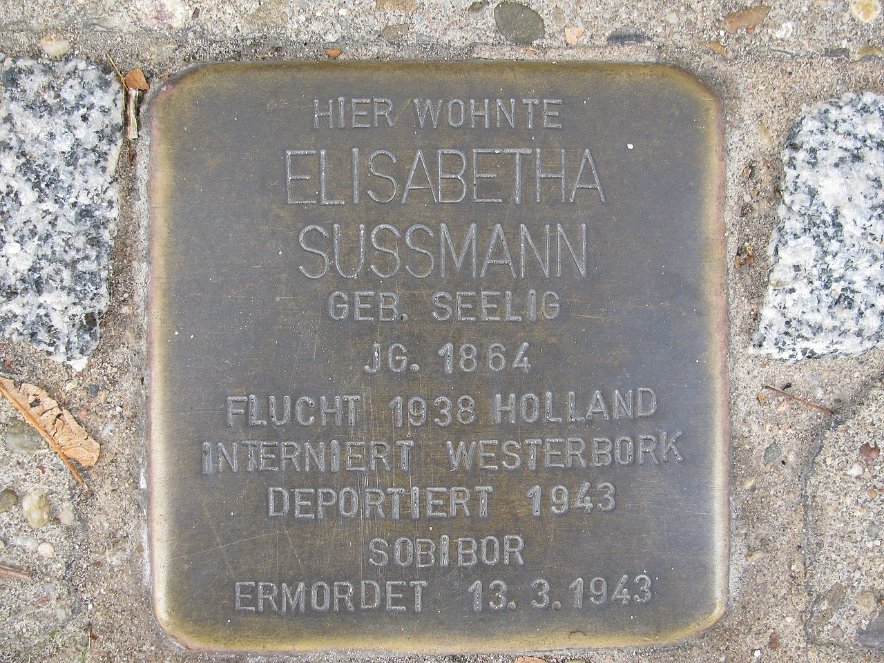 der Stolperstein für Elisabetha Sussmann