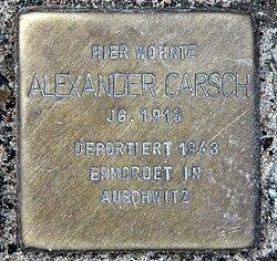 Photo of Alexander Carsch brass plaque
