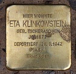 Photo of Eta Klinkowstein brass plaque