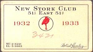 Stork Club - Membership card 1932-1933