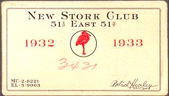 Stork Club - Membership card 1932-1933