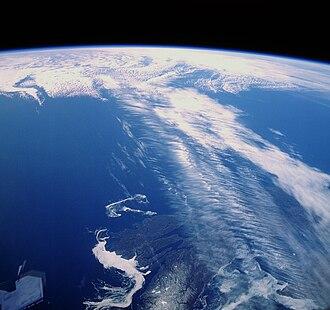 Jet stream - Clouds along a jet stream over Canada.