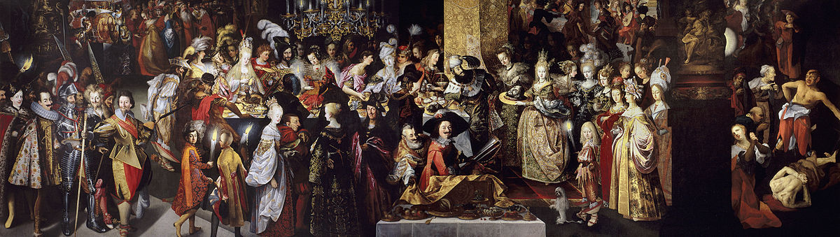 Feast of Herod with the Beheading of St John the Baptist, c. 1630s, Prado; almost 10 metres wide, Bartholomeus Strobel's masterpiece, and an allegory of the Thirty Years War Strobel-bautista.jpg