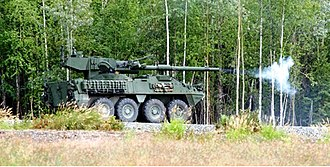 25th Infantry Division (United States) - 1st Stryker Brigade Combat Team firing the M1128 Mobile Gun System