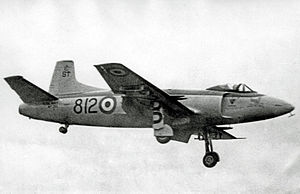 Supermarine Attacker - Attacker FB.2 of 1831 Squadron RNVR landing at RNAS Stretton in 1956