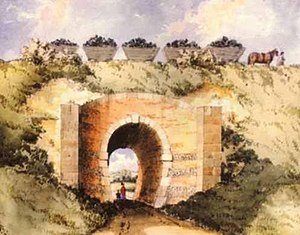 Surrey Iron Railway - Watercolour showing the Croydon, Merstham and Godstone Railway passing Chipstead Valley Road, Coulsdon, Surrey
