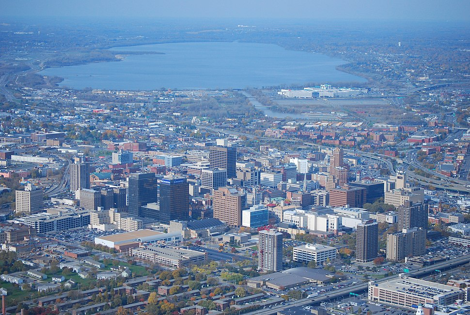 Downtown Syracuse (aerial view; Onondaga Lake in background)