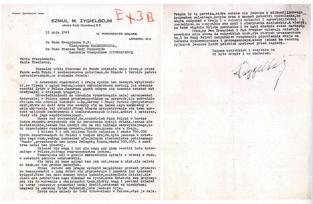 Szmul Zygielbojm suicide letter 1943