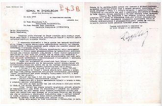 Szmul Zygielbojm - Zygielbojm's last letter addressed to Polish president Władysław Raczkiewicz and prime minister Władysław Sikorski dated 11 May 1943.