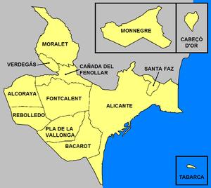Entidades de población del término municipal de Alicante.
