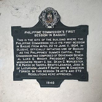"Taft Commission - Historical marker near the Baden Powell Hotel on Governor Pack Road in Baguio City commemorating the first summer session of the Taft Commission to be held in Baguio, the ""Summer Capital of the Philippines."""