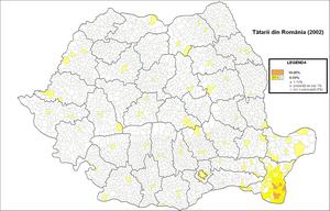 Tatars of Romania - Distribution of Tatars in Romania (2002 census)