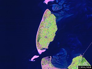 Vlieter Incident - Satellite image of the island of Texel and its surroundings