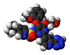 Space-filling model of the tezosentan molecule