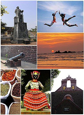 Thalassery - Clockwise from top:Hermann Gundert Statue, Kalaripayattu Training, Muzhappilangad Beach, Thalassery fort, Theyyam, Spice Market, Cannons near Pier