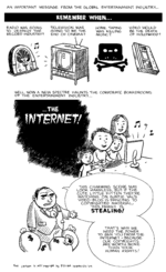 "Political cartoon from 2009: an entertainment industry man, reminiscing about the dangers radio, TV, home taping, and VCRs posed to existing industries, declares the new threat: the Internet. He says a family watching uploaded content, with copyrighted material, is stealing, and that ""copyrights are worth more than your human rights"""