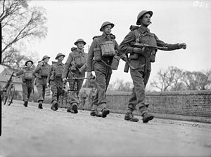 5th (Huntingdonshire) Battalion, Northamptonshire Regiment - Men of the 5th (Huntingdonshire) Battalion, Northamptonshire Regiment on the march during an exercise near Christchurch, Dorset, 12 March 1941.