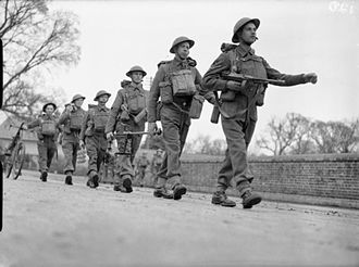 5th (Huntingdonshire) Battalion, Northamptonshire Regiment - Men of the 5th (Huntingdonshire) Battalion, Northamptonshire Regiment on the march during an exercise near Christchurch, Dorset, 12 March 1941.