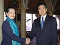 The Chairperson, UPA, Smt. Sonia Gandhi calls on the President of the People's Republic of China, Mr. Hu Jintao, in New Delhi on November 21, 2006.jpg