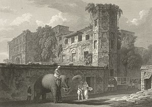 Chowk Bazaar - An etching Bara Katra by Sir Charles D'Oyly in 1823.