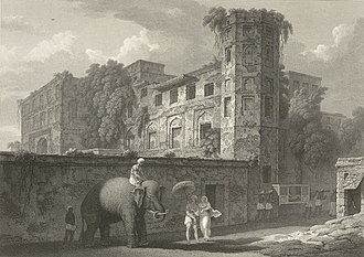 Chowk Bazaar - An etching Bara Katra by Sir Charles D'Oyly in 1823.
