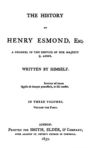 The History of Henry Esmond - First edition title page