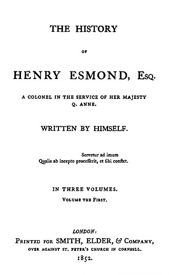 Caslon - The History of Henry Esmond, a novel by Thackeray written as a fictional memoir. The first edition of 1852 was printed in Caslon type, then just coming back into fashion. The goal was to achieve a period feel appropriate to its early eighteenth-century setting.