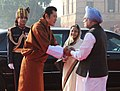 The King of Bhutan, HM Jigme Khesar Namgyel Wangchuck meeting the Prime Minister, Dr. Manmohan Singh at the ceremonial reception, at Rashtrapati Bhavan, in New Delhi on December 22, 2009.jpg