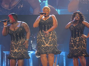 "I Am... World Tour - Knowles' background vocalists The Mamas (pictured),  performing during a show in London. They sang over ""lush"" harmonies during Knowles' costume changes."