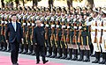 The President, Shri Pranab Mukherjee inspecting the Guard of Honour, at the Welcome Ceremony, at Great Hall of the People, in Beijing.jpg