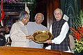 The President Dr. A.P.J. Abdul Kalam giving away the Outstanding Parliamentarian Award for the year 1999 to the Leader of Opposition, in Lok Sabha, Shri L.K. Advani in New Delhi on March 21, 2005.jpg
