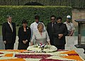 The President of the Republic of Chile, Dr. Michelle Bachelet laying wreath at the Samadhi of Mahatma Gandhi at Rajghat, in Delhi on March 17, 2009.jpg