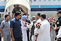 The Prime Minister, Dr. Manmohan Singh being received by the Governor of Assam, Shri J. B. Patnaik and the Chief Minister of Assam, Shri Tarun Gogoi on his arrival, at Guwahati airport, in Assam on July 28, 2012.jpg