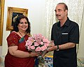 The SAARC Goodwill Ambassador for HIVAIDS, Ms. Runa Laila calls on the Union Minister for Health and Family Welfare, Shri Ghulam Nabi Azad, in New Delhi on August 02, 2013.jpg