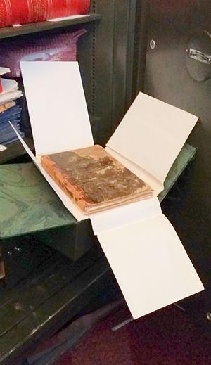 Stephen Foster's sketchbook - The Stephen Collins Foster sketchbook kept in a safe at the archives