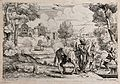 The fugitive holy family board a barge across a river. Etchi Wellcome V0034675.jpg