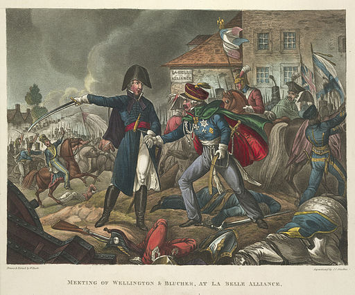 The meeting of Wellington and Blucher during the Battle of Waterloo. - The Wars of Wellington, a narrative poem (1819), opposite 172 - BL