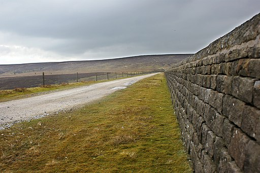 The road across the dam at Upper Barden reservoir - geograph.org.uk - 1772887