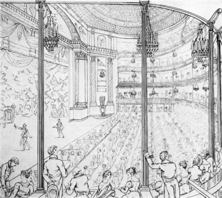 The present-day Theatre Royal in Drury Lane, sketched when it was new, in 1813 Theatre Royal Drury Lane 1813.png