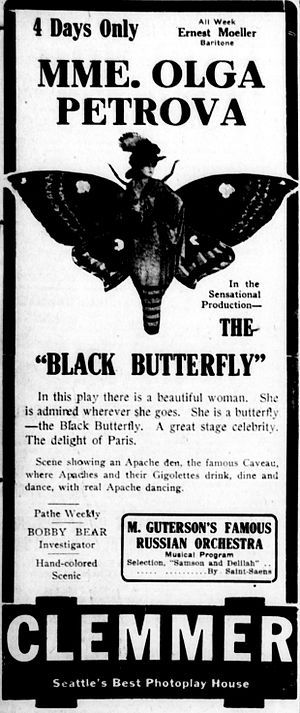 The Black Butterfly - Newspaper advertisement.