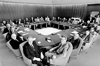 Third Whitlam Ministry - The ministry meeting at Old Parliament House, Canberra, in 1974.
