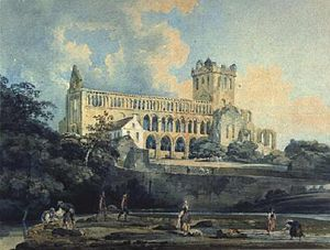 Watercolor painting - Thomas Girtin, Jedburgh Abbey from the River, 1798–99, watercolor on paper