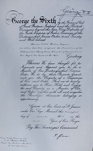 Thomas W. Horton (pilot) - DSO certificate presented by George VI