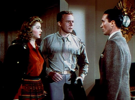 Bob (Carleton G. Young) returns to his honeymoon to see his wife Esther Williams with another man Van Johnson Thrillofaromance-esthervancharleton.jpg